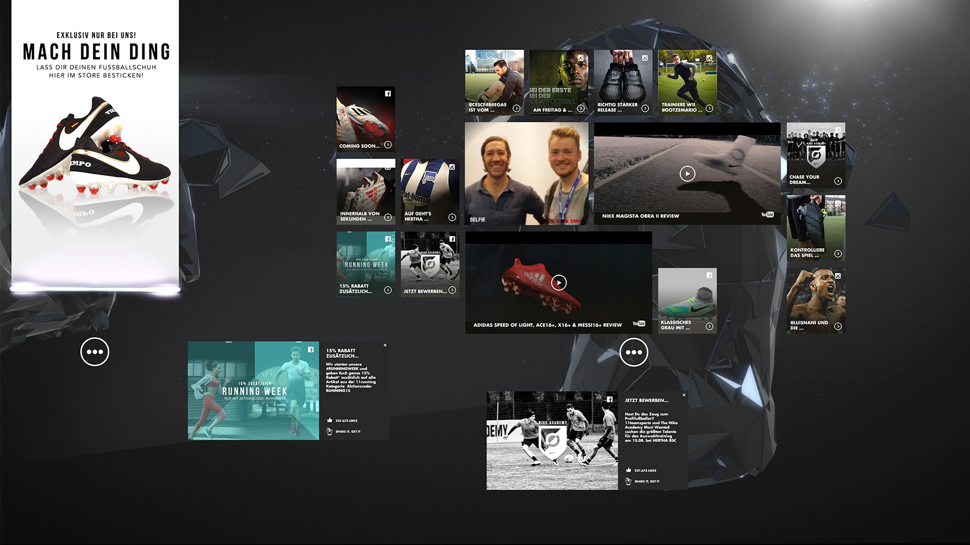 nike digital retail experience unity social media wall mit facebook und twitter news