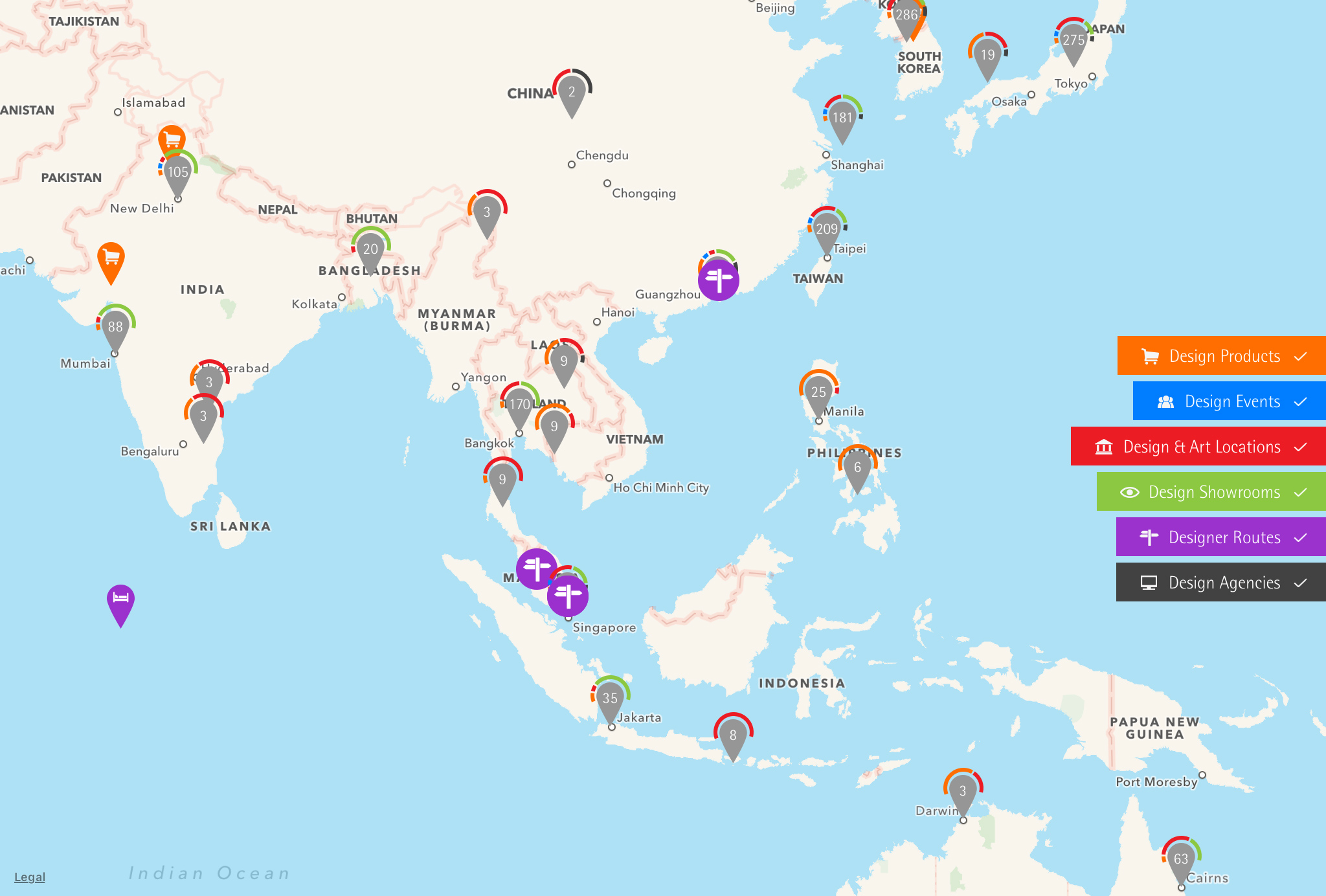 red dot maps design locations asien