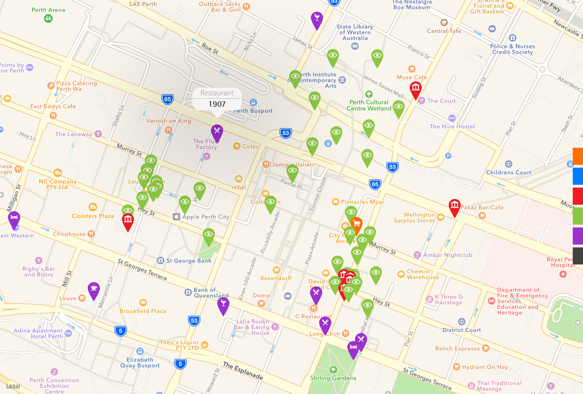 red dot maps design locations perth