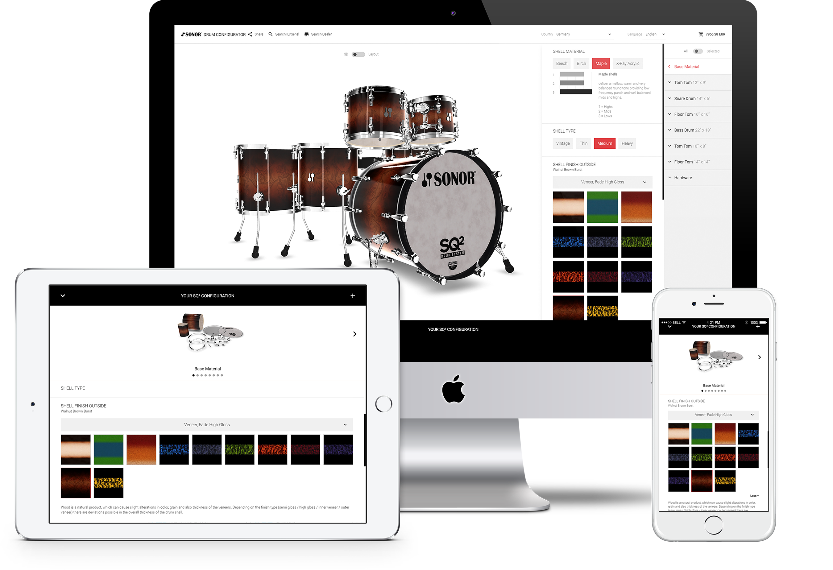 konfigurator webgl responsive desktop tablet iphone sonor drums